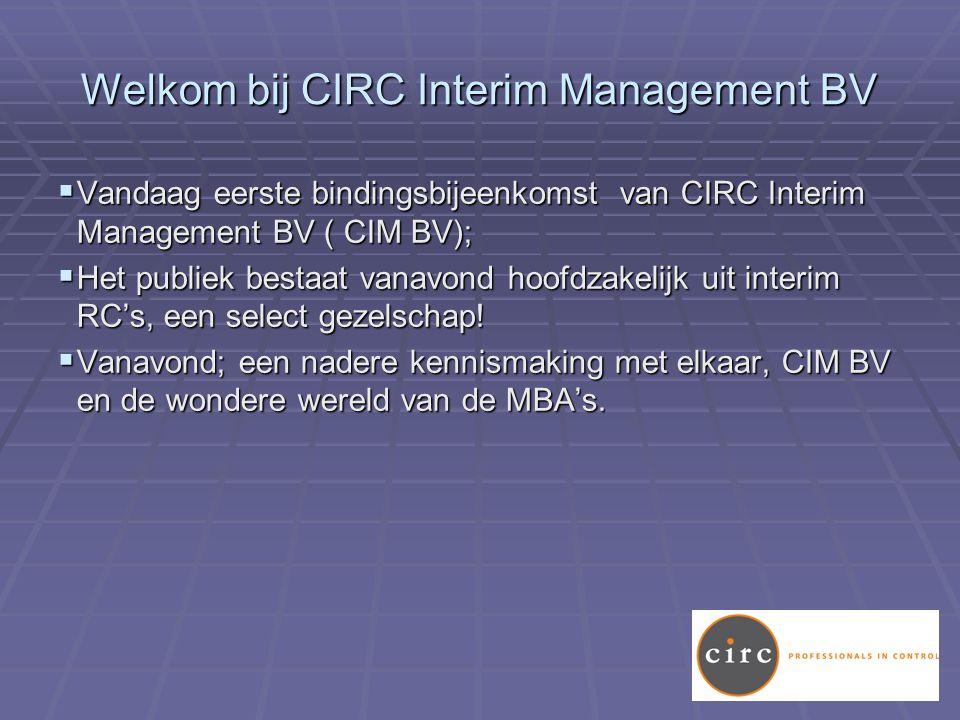 Welkom bij CIRC Interim Management BV  Vandaag eerste bindingsbijeenkomst van CIRC Interim Management BV ( CIM BV);  Het publiek bestaat vanavond hoofdzakelijk uit interim RC's, een select gezelschap.