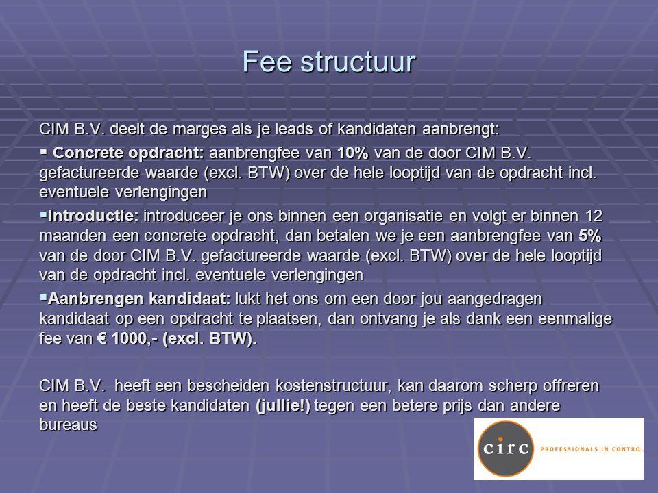 Fee structuur CIM B.V.