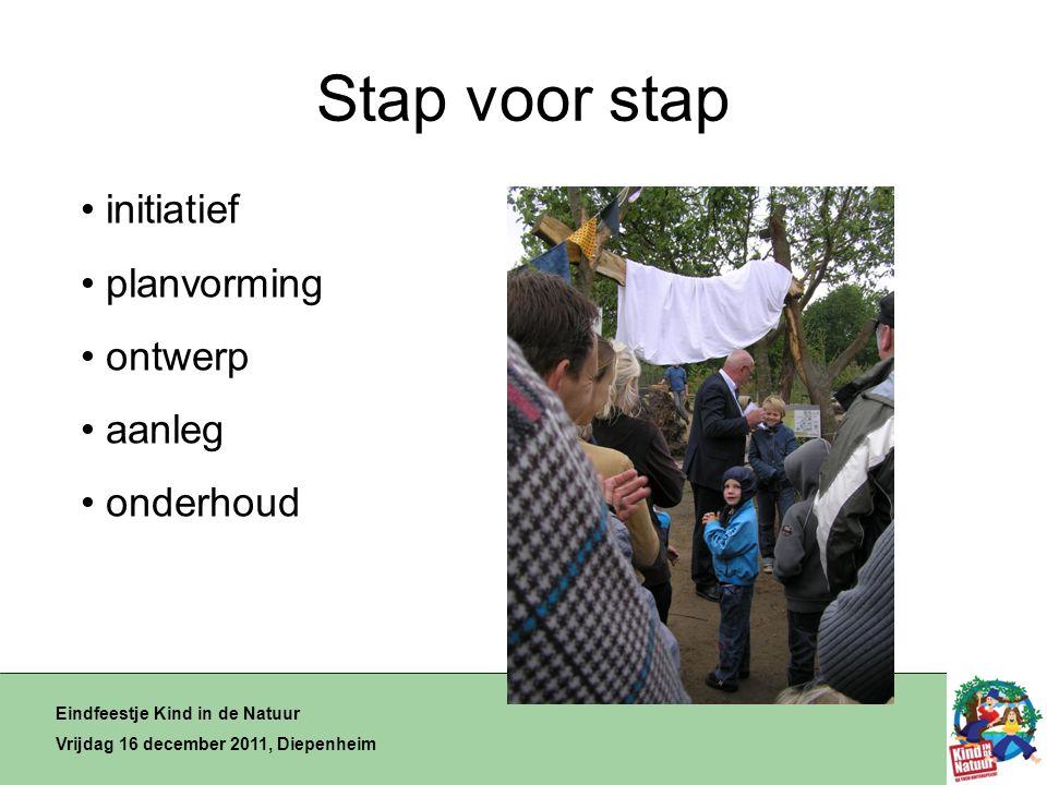 Stap voor stap Eindfeestje Kind in de Natuur Vrijdag 16 december 2011, Diepenheim • initiatief • planvorming • ontwerp • aanleg • onderhoud
