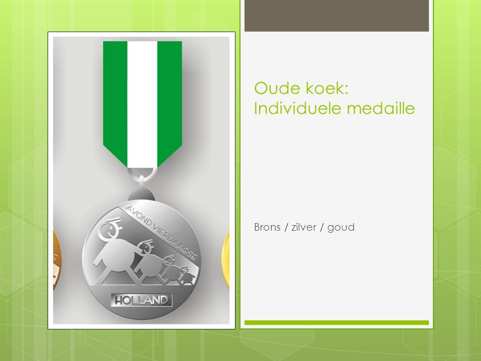 Oude koek: Individuele medaille Brons / zilver / goud