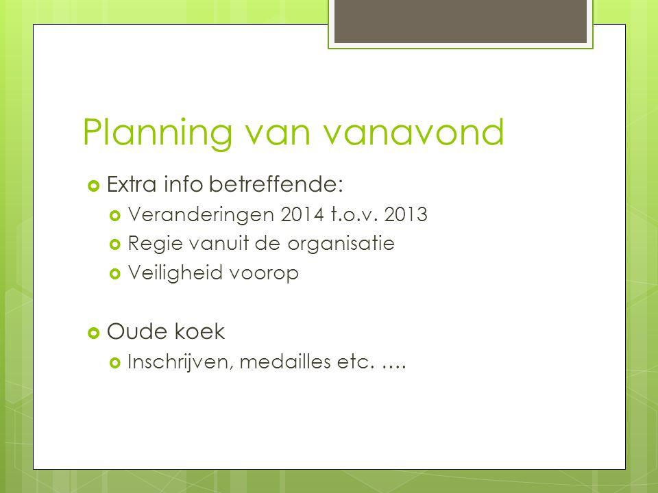 Planning van vanavond  Extra info betreffende:  Veranderingen 2014 t.o.v. 2013  Regie vanuit de organisatie  Veiligheid voorop  Oude koek  Insch