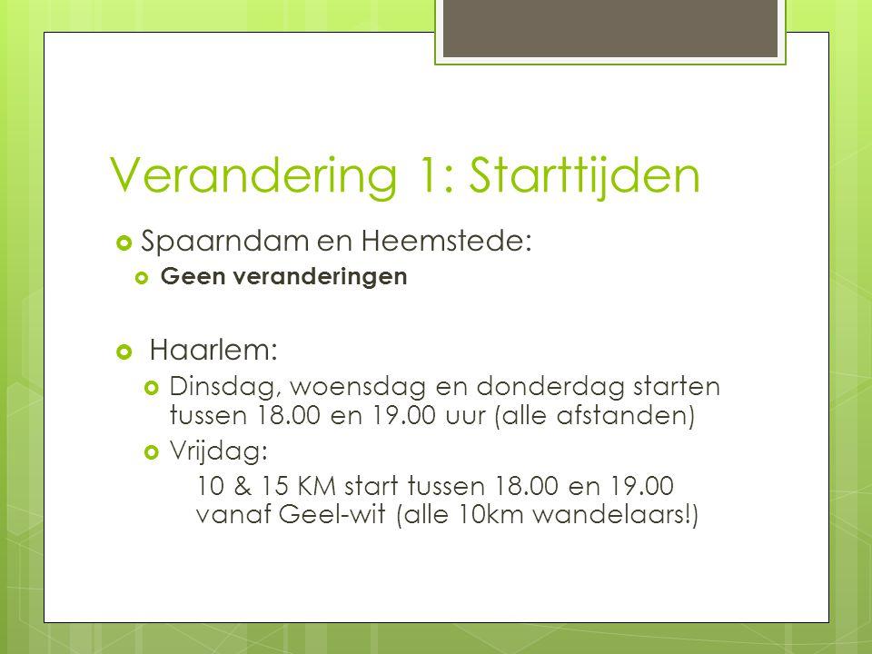 Verandering 1: Starttijden  Spaarndam en Heemstede:  Geen veranderingen  Haarlem:  Dinsdag, woensdag en donderdag starten tussen 18.00 en 19.00 uu