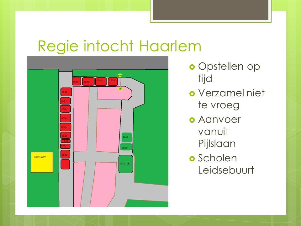 Regie intocht Haarlem  Opstellen op tijd  Verzamel niet te vroeg  Aanvoer vanuit Pijlslaan  Scholen Leidsebuurt