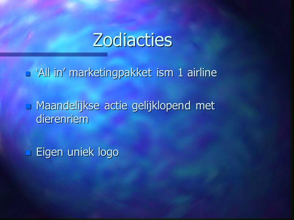 Zodiacties n ' All in' marketingpakket ism 1 airline n Maandelijkse actie gelijklopend met dierenriem n Eigen uniek logo