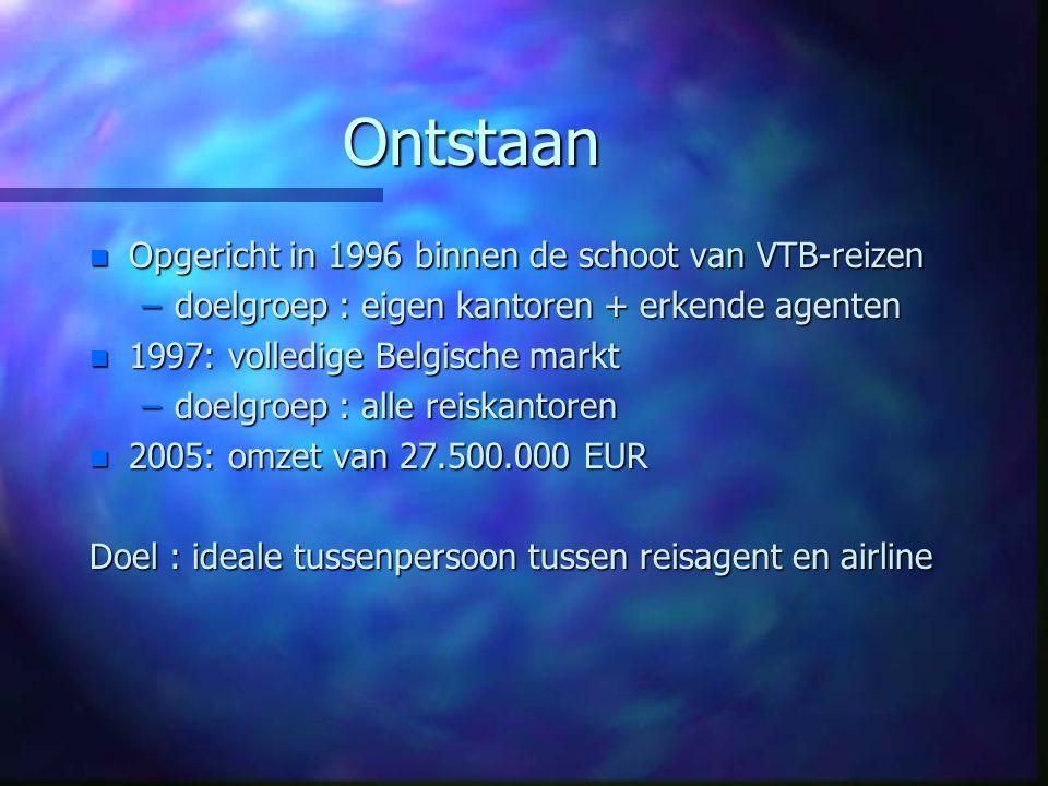 Ontstaan n Opgericht in 1996 binnen de schoot van VTB-reizen –doelgroep : eigen kantoren + erkende agenten n 1997: volledige Belgische markt –doelgroe