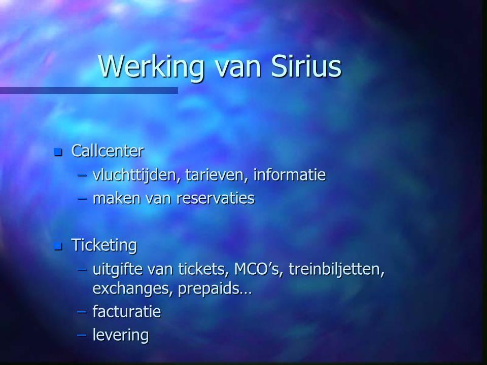 Werking van Sirius n Callcenter –vluchttijden, tarieven, informatie –maken van reservaties n Ticketing –uitgifte van tickets, MCO's, treinbiljetten, e