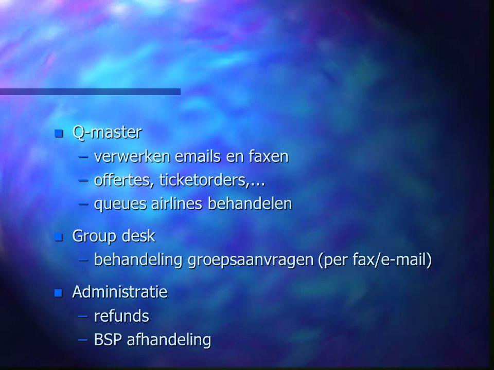 n Q-master –verwerken emails en faxen –offertes, ticketorders,... –queues airlines behandelen n Group desk –behandeling groepsaanvragen (per fax/e-mai