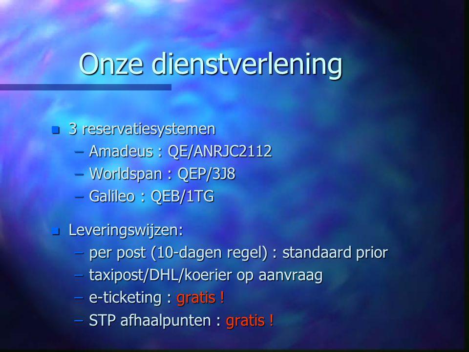 Onze dienstverlening n 3 reservatiesystemen –Amadeus : QE/ANRJC2112 –Worldspan : QEP/3J8 –Galileo : QEB/1TG n Leveringswijzen: –per post (10-dagen reg