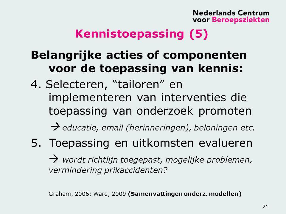"""21 Belangrijke acties of componenten voor de toepassing van kennis: 4. Selecteren, """"tailoren"""" en implementeren van interventies die toepassing van ond"""
