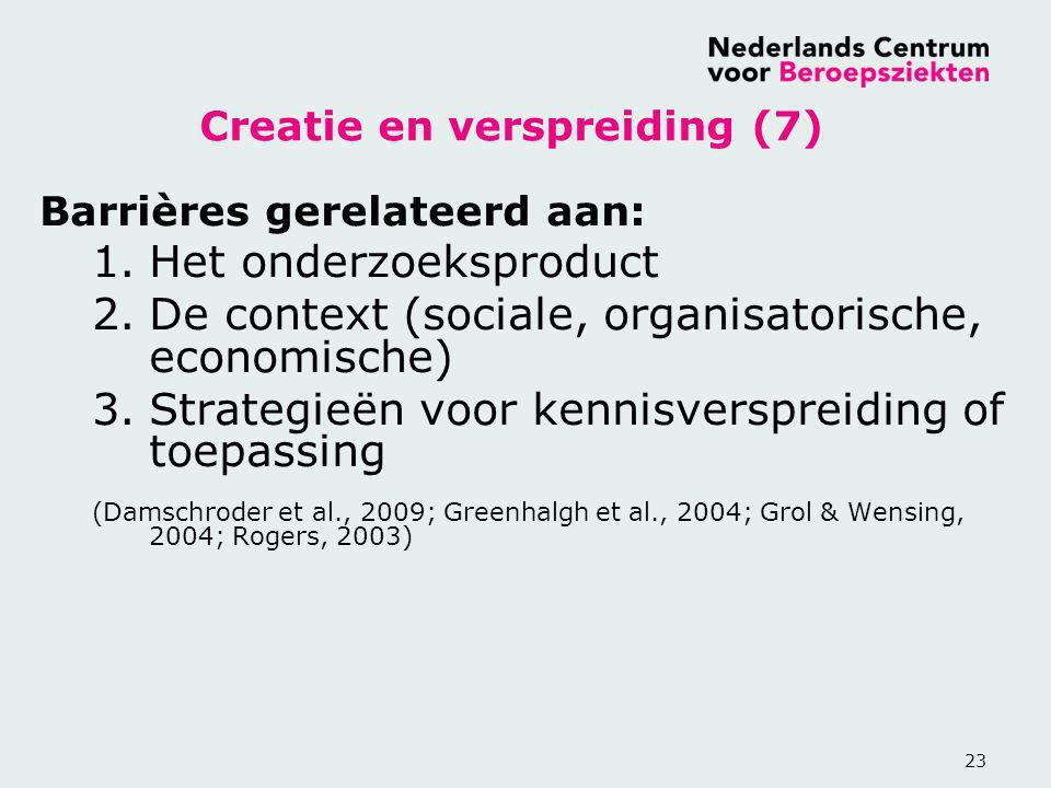 23 Creatie en verspreiding (7) Barrières gerelateerd aan: 1.Het onderzoeksproduct 2.De context (sociale, organisatorische, economische) 3.Strategieën