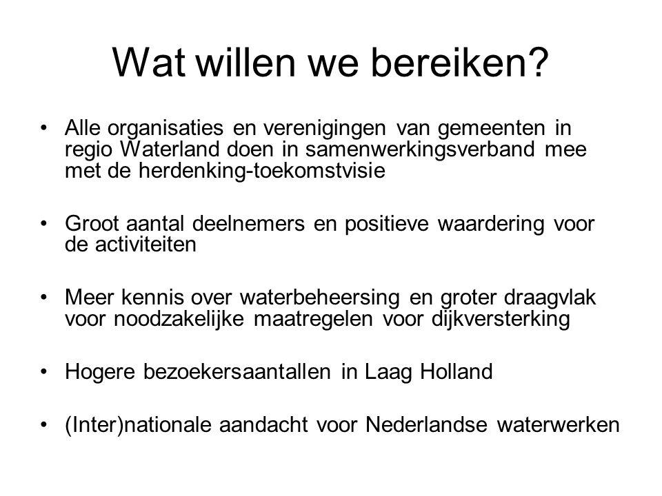 Wat willen we bereiken? •Alle organisaties en verenigingen van gemeenten in regio Waterland doen in samenwerkingsverband mee met de herdenking-toekoms