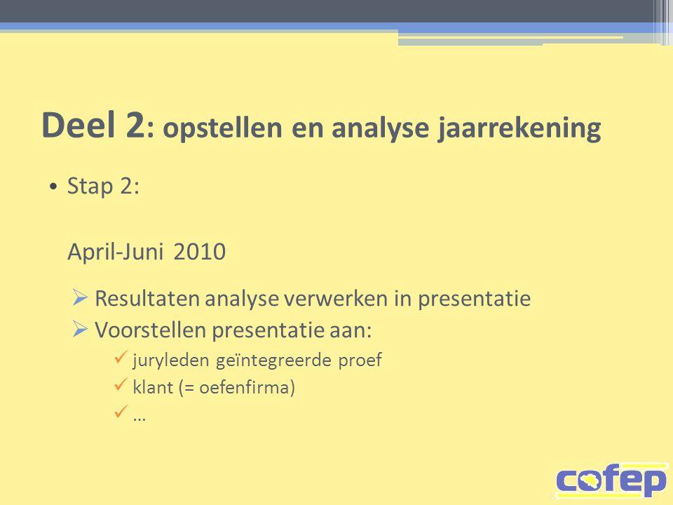 Deel 2 : opstellen en analyse jaarrekening • Stap 2: April-Juni 2010  Resultaten analyse verwerken in presentatie  Voorstellen presentatie aan:  ju