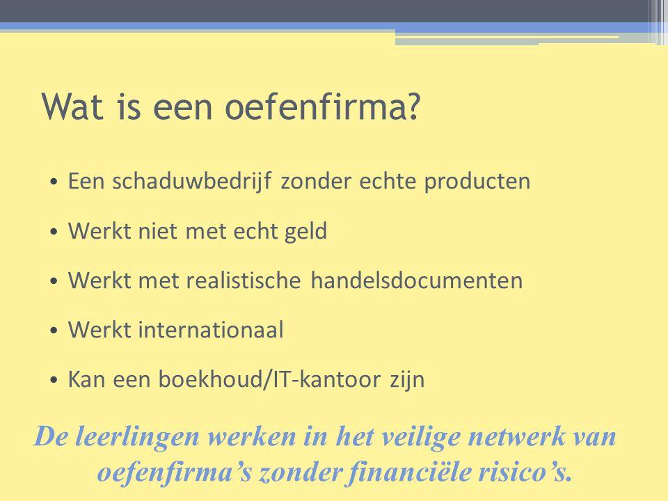 Wat is een oefenfirma? • Een schaduwbedrijf zonder echte producten • Werkt niet met echt geld • Werkt met realistische handelsdocumenten • Werkt inter