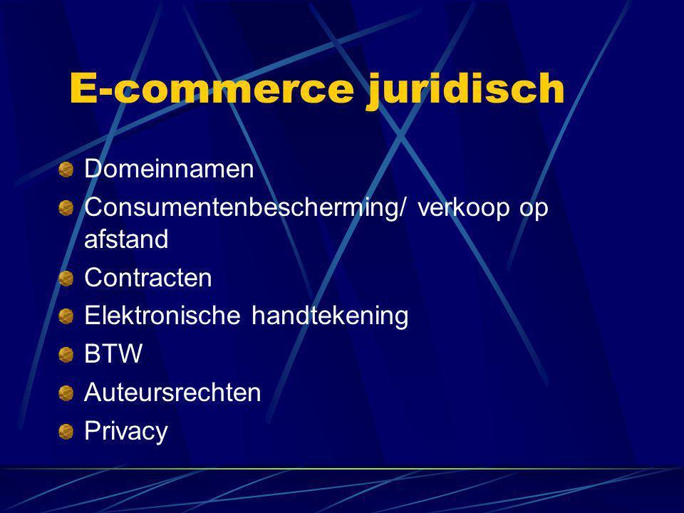 E-commerce juridisch Domeinnamen Consumentenbescherming/ verkoop op afstand Contracten Elektronische handtekening BTW Auteursrechten Privacy