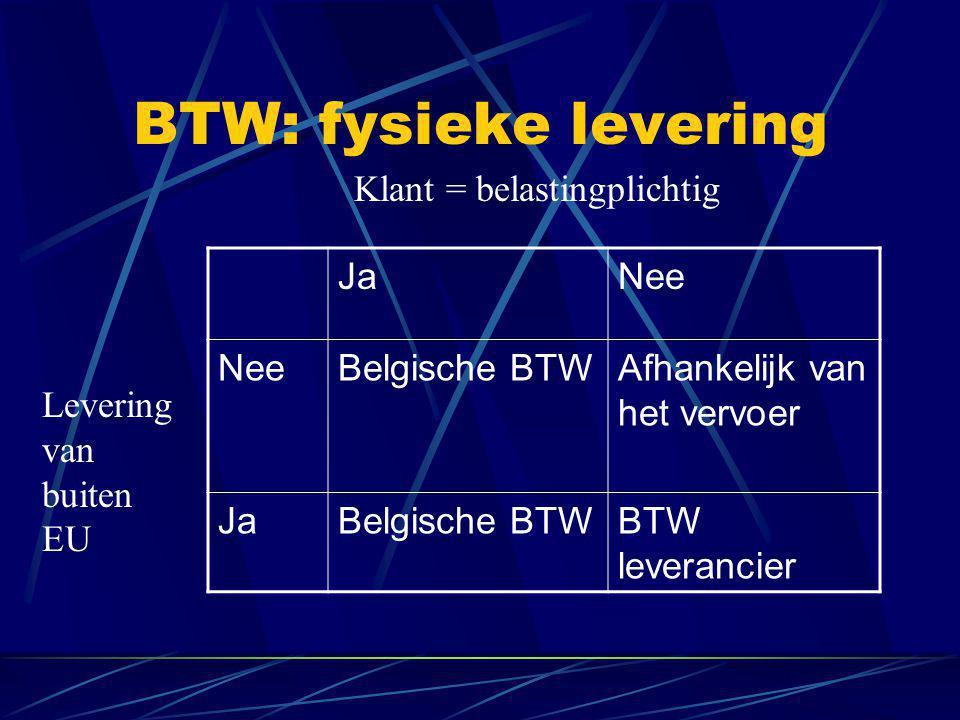BTW: fysieke levering JaNee Belgische BTWAfhankelijk van het vervoer JaBelgische BTWBTW leverancier Klant = belastingplichtig Levering van buiten EU
