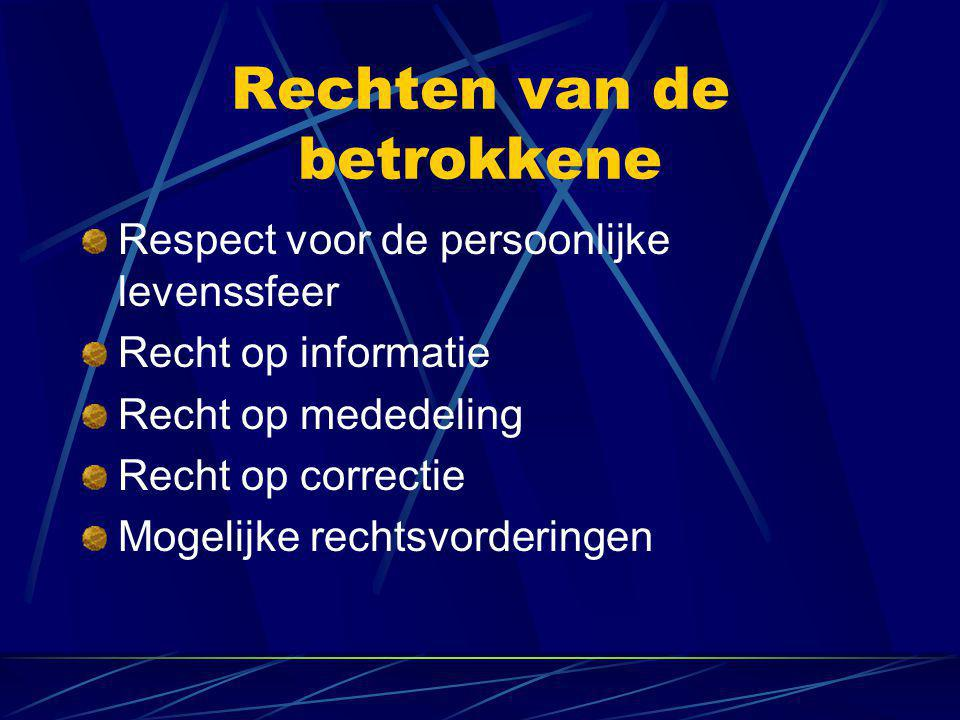 Rechten van de betrokkene Respect voor de persoonlijke levenssfeer Recht op informatie Recht op mededeling Recht op correctie Mogelijke rechtsvorderin