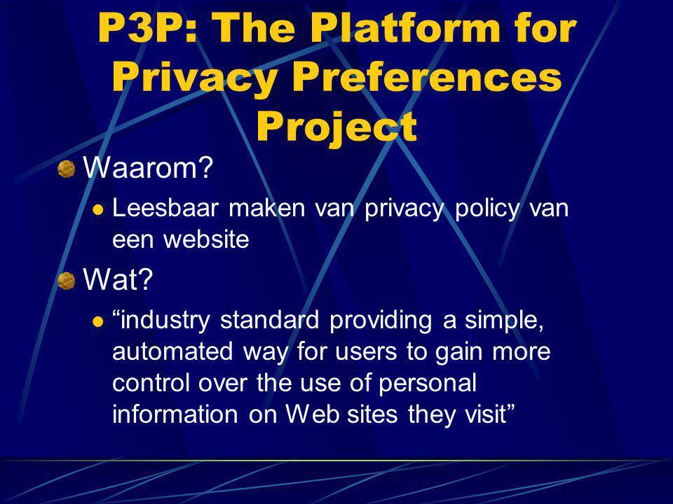 "P3P: The Platform for Privacy Preferences Project Waarom?  Leesbaar maken van privacy policy van een website Wat?  ""industry standard providing a si"