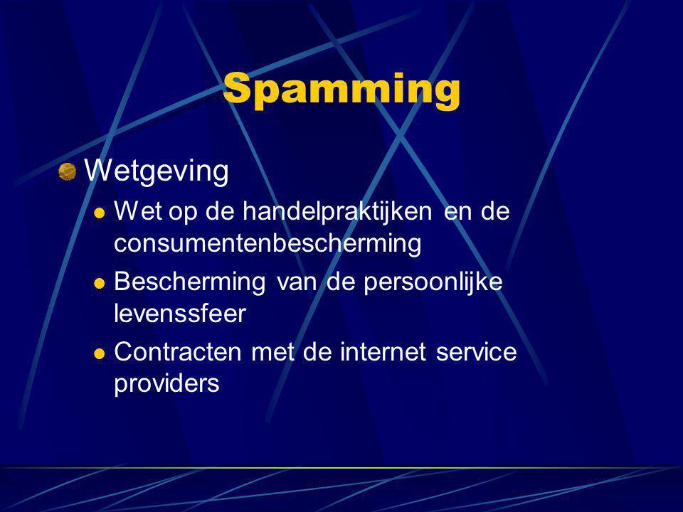 Spamming Wetgeving  Wet op de handelpraktijken en de consumentenbescherming  Bescherming van de persoonlijke levenssfeer  Contracten met de internet service providers
