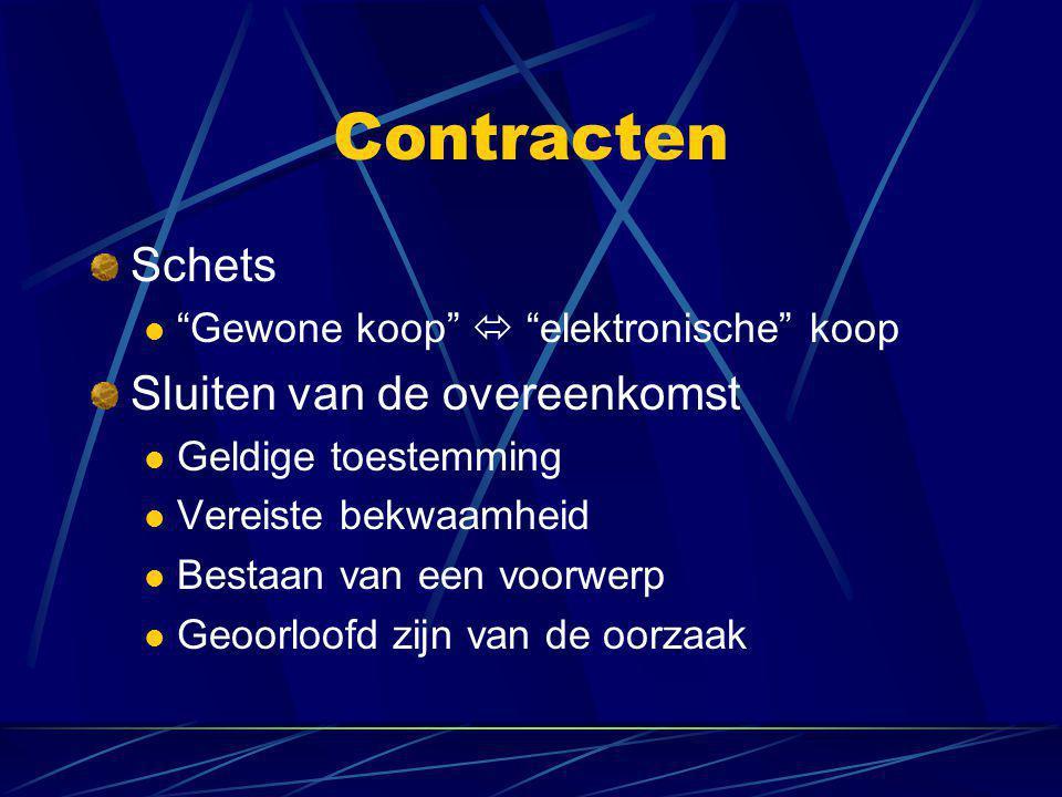 """Contracten Schets  """"Gewone koop""""  """"elektronische"""" koop Sluiten van de overeenkomst  Geldige toestemming  Vereiste bekwaamheid  Bestaan van een vo"""