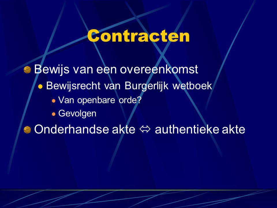 Contracten Bewijs van een overeenkomst  Bewijsrecht van Burgerlijk wetboek  Van openbare orde?  Gevolgen Onderhandse akte  authentieke akte