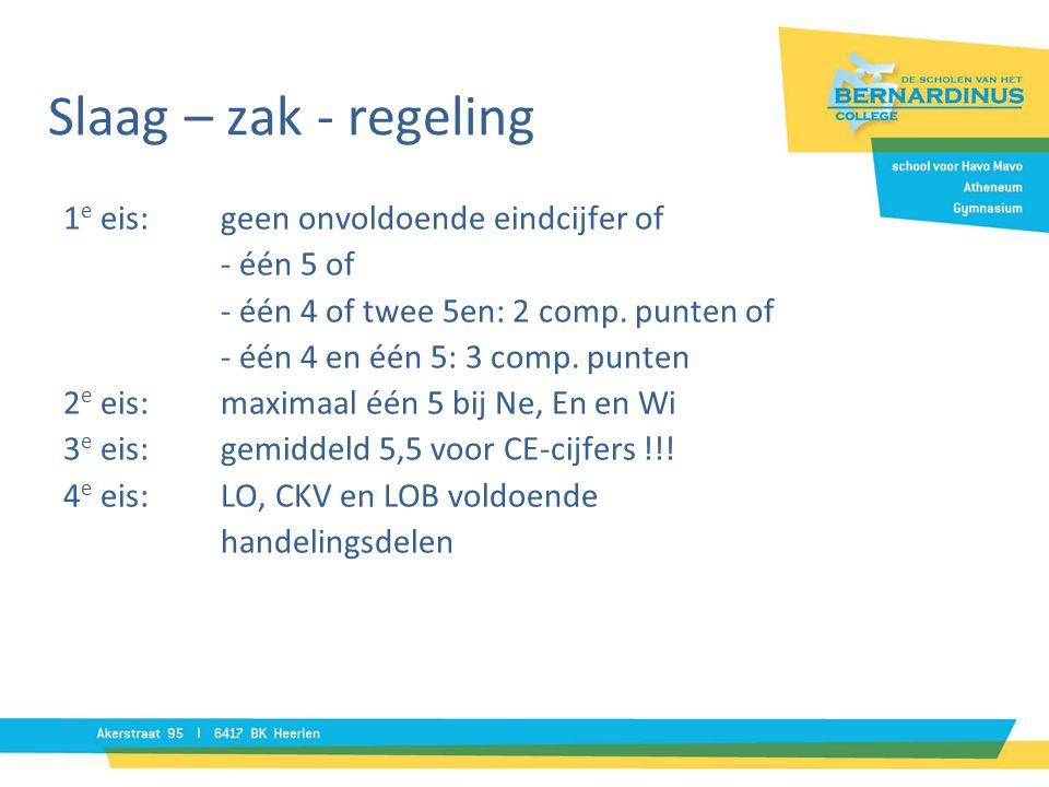 Slaag – zak - regeling 1 e eis:geen onvoldoende eindcijfer of - één 5 of - één 4 of twee 5en: 2 comp. punten of - één 4 en één 5: 3 comp. punten 2 e e