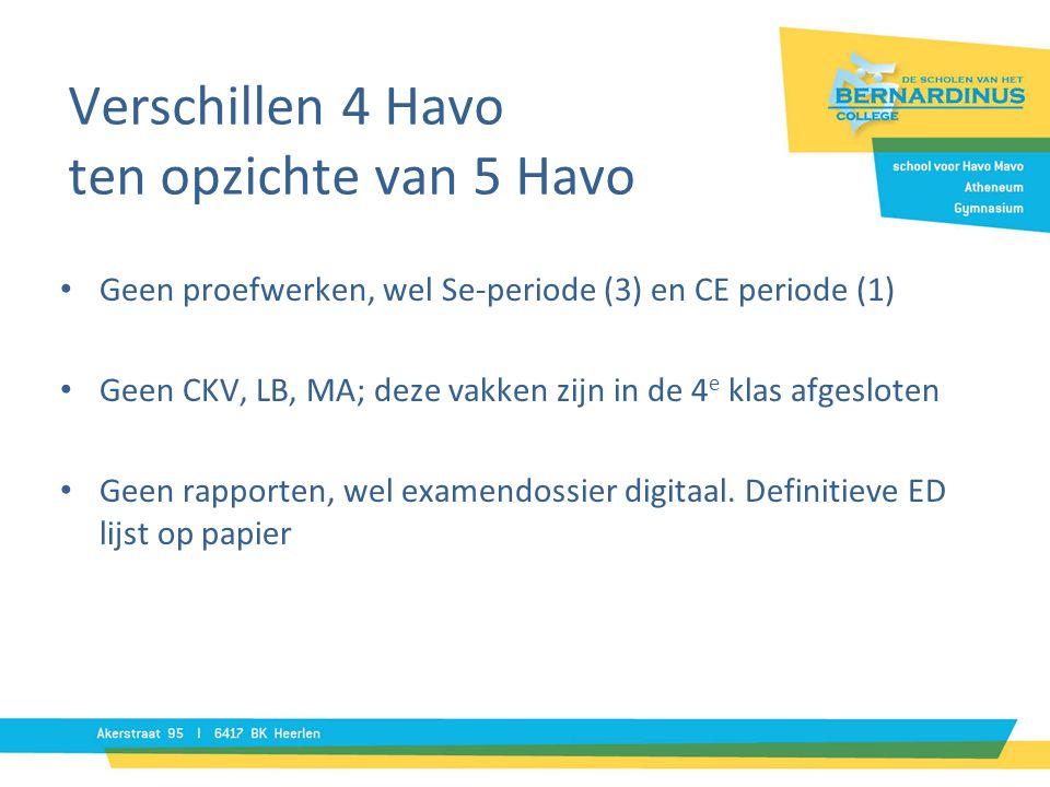 Verschillen 4 Havo ten opzichte van 5 Havo • Geen proefwerken, wel Se-periode (3) en CE periode (1) • Geen CKV, LB, MA; deze vakken zijn in de 4 e klas afgesloten • Geen rapporten, wel examendossier digitaal.