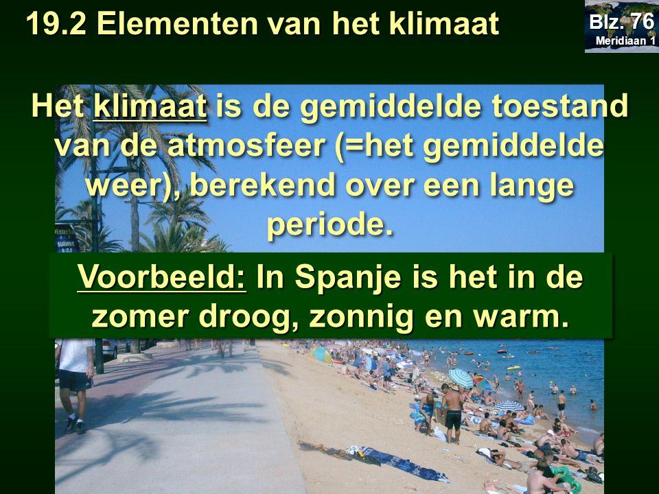 Voorbeeld: In Spanje is het in de zomer droog, zonnig en warm. klimaat Het klimaat is de gemiddelde toestand van de atmosfeer (=het gemiddelde weer),