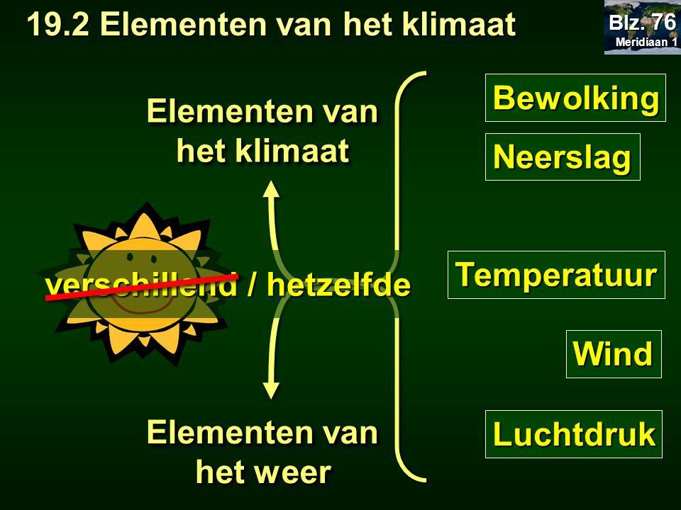 Bewolking Neerslag Temperatuur Wind Luchtdruk Elementen van het klimaat Elementen van het weer verschillend / hetzelfde 19.2 Elementen van het klimaat 19.2 Elementen van het klimaat Meridiaan 1 Meridiaan 1 Blz.