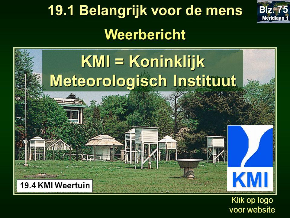 Weerbericht 19.4 KMI Weertuin KMI = Koninklijk Meteorologisch Instituut Klik op logo voor website KMI 19.1 Belangrijk voor de mens Meridiaan 1 Meridia