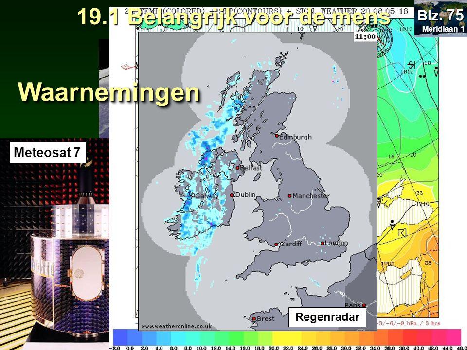 Klik op logo voor website Weerbericht Meteosat 7 Regenradar WaarnemingenWaarnemingen 19.1 Belangrijk voor de mens Meridiaan 1 Meridiaan 1 Blz. 75