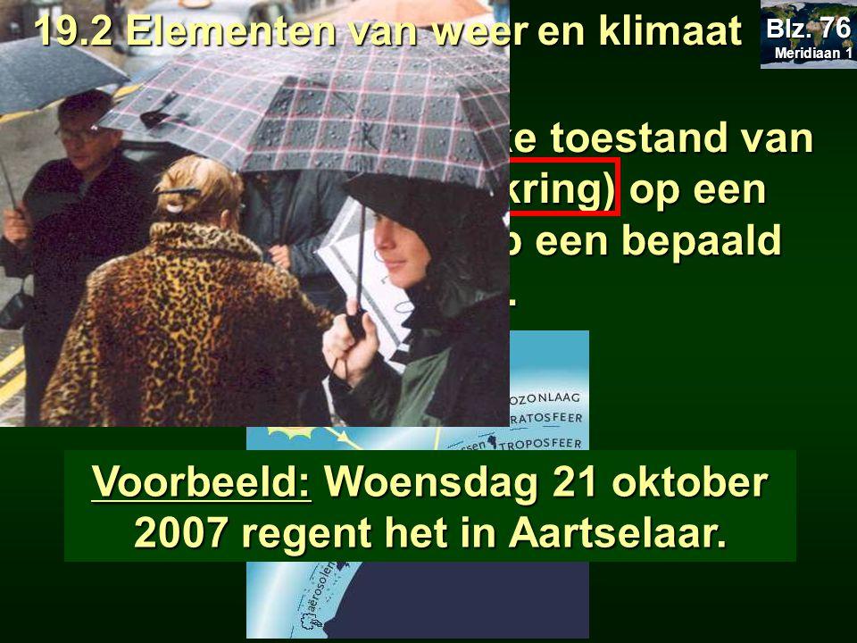 Het weer is een tijdelijke toestand van de atmosfeer (dampkring) op een bepaalde plaats en op een bepaald moment. Voorbeeld: Woensdag 21 oktober 2007