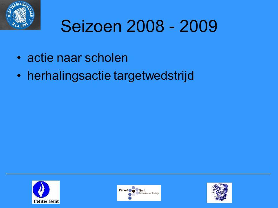 Seizoen 2008 - 2009 •actie naar scholen •herhalingsactie targetwedstrijd