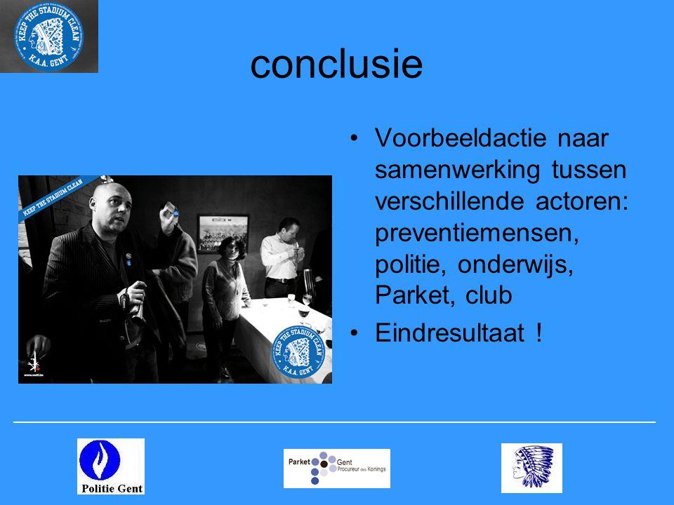 conclusie •Voorbeeldactie naar samenwerking tussen verschillende actoren: preventiemensen, politie, onderwijs, Parket, club •Eindresultaat !