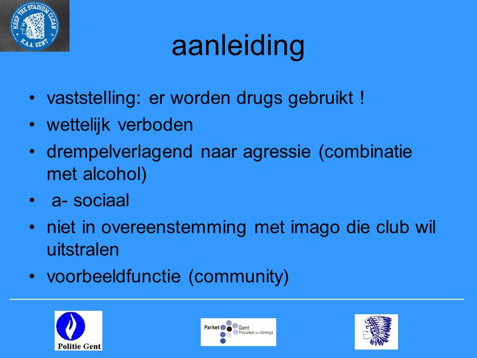 aanleiding •vaststelling: er worden drugs gebruikt .