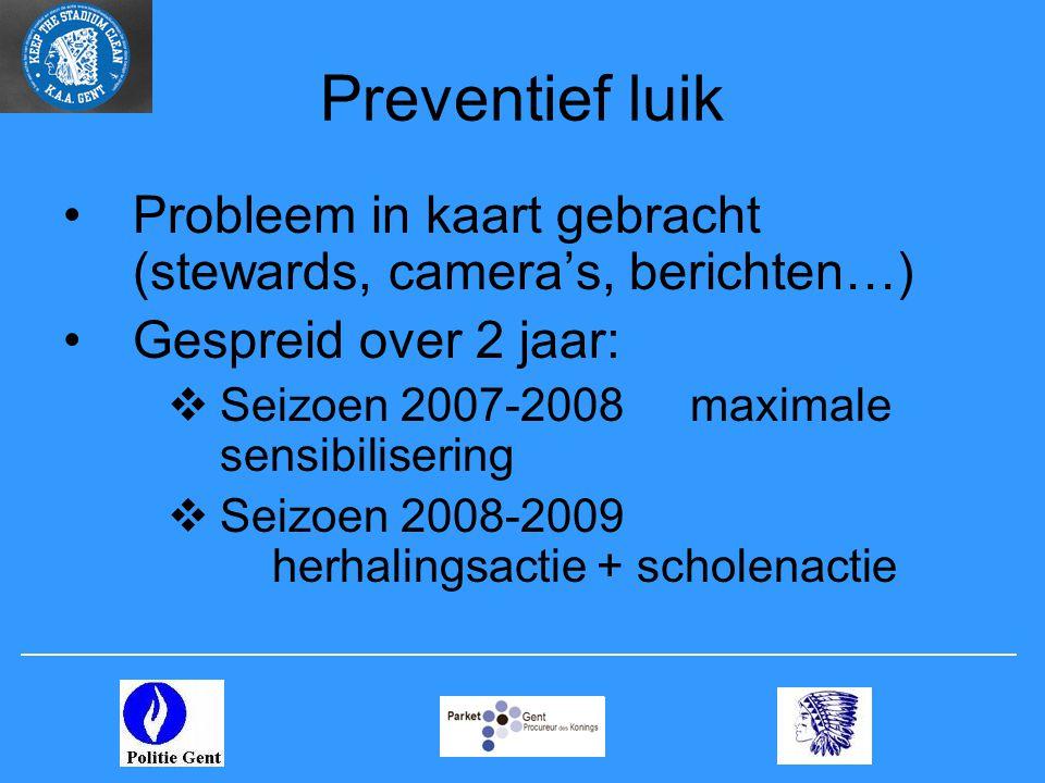 Preventief luik •Probleem in kaart gebracht (stewards, camera's, berichten…) •Gespreid over 2 jaar:  Seizoen 2007-2008maximale sensibilisering  Seizoen 2008-2009 herhalingsactie + scholenactie
