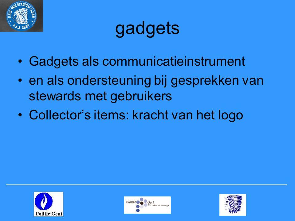 gadgets •Gadgets als communicatieinstrument •en als ondersteuning bij gesprekken van stewards met gebruikers •Collector's items: kracht van het logo