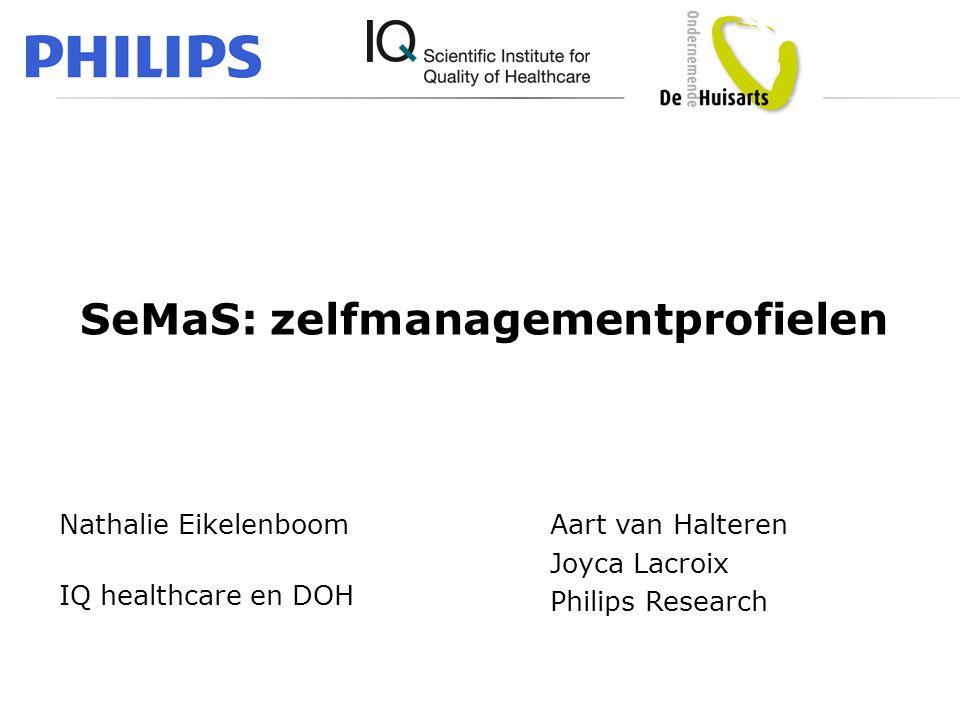 SeMaS: zelfmanagementprofielen Nathalie Eikelenboom IQ healthcare en DOH Aart van Halteren Joyca Lacroix Philips Research