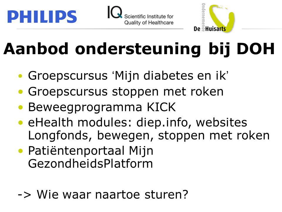 Aanbod ondersteuning bij DOH • Groepscursus 'Mijn diabetes en ik' •Groepscursus stoppen met roken •Beweegprogramma KICK •eHealth modules: diep.info, w
