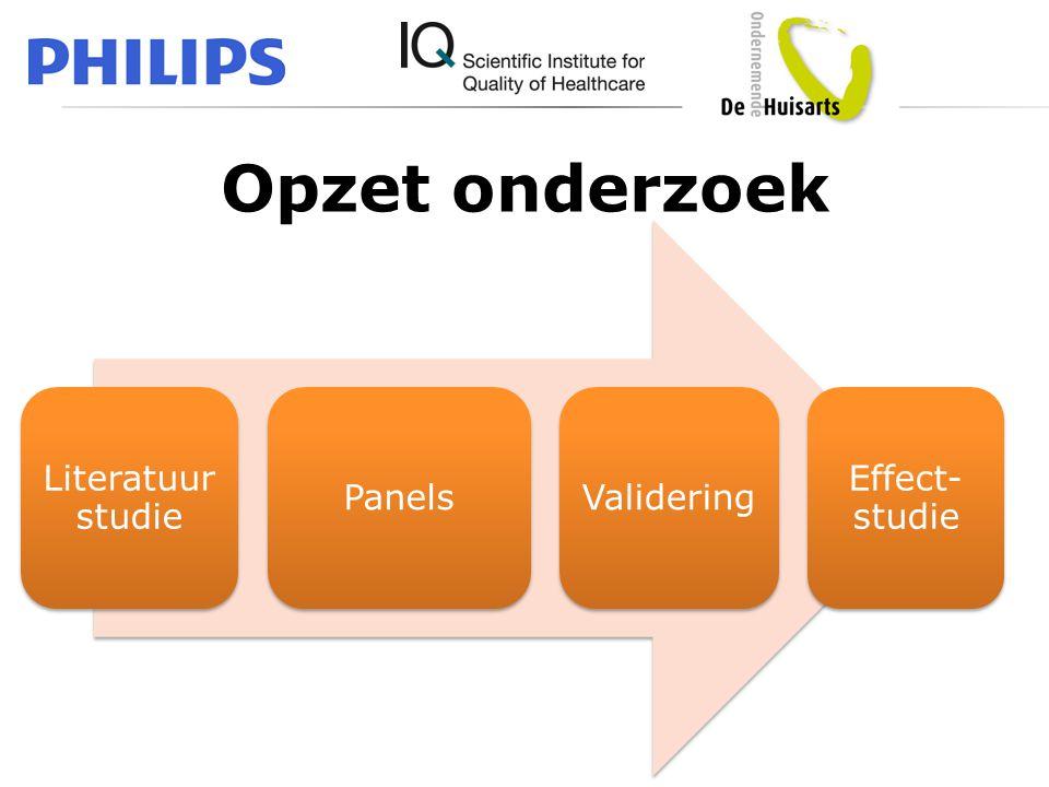 Opzet onderzoek Literatuur studie Panels Validering Effect- studie