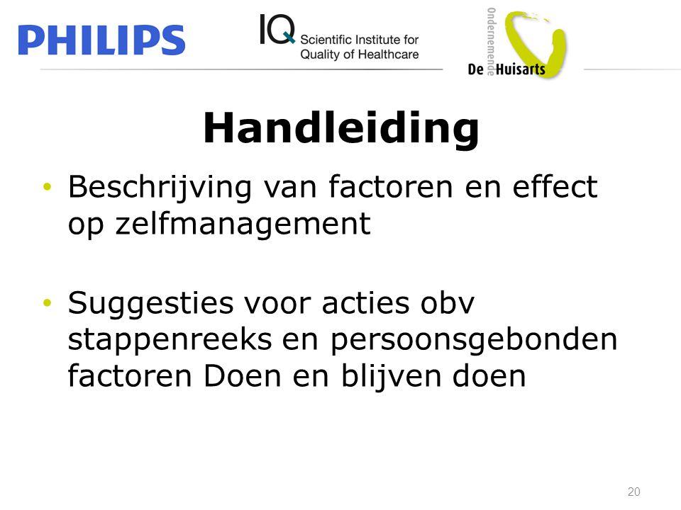 Handleiding • Beschrijving van factoren en effect op zelfmanagement • Suggesties voor acties obv stappenreeks en persoonsgebonden factoren Doen en bli
