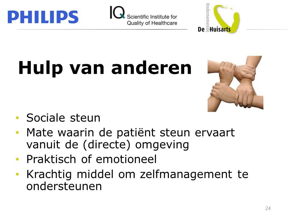 Hulp van anderen • Sociale steun • Mate waarin de patiënt steun ervaart vanuit de (directe) omgeving • Praktisch of emotioneel • Krachtig middel om ze