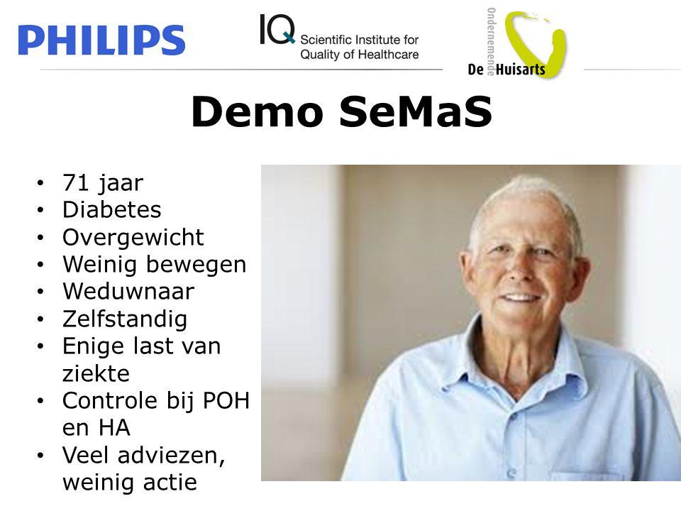 Demo SeMaS • 71 jaar • Diabetes • Overgewicht • Weinig bewegen • Weduwnaar • Zelfstandig • Enige last van ziekte • Controle bij POH en HA • Veel advie