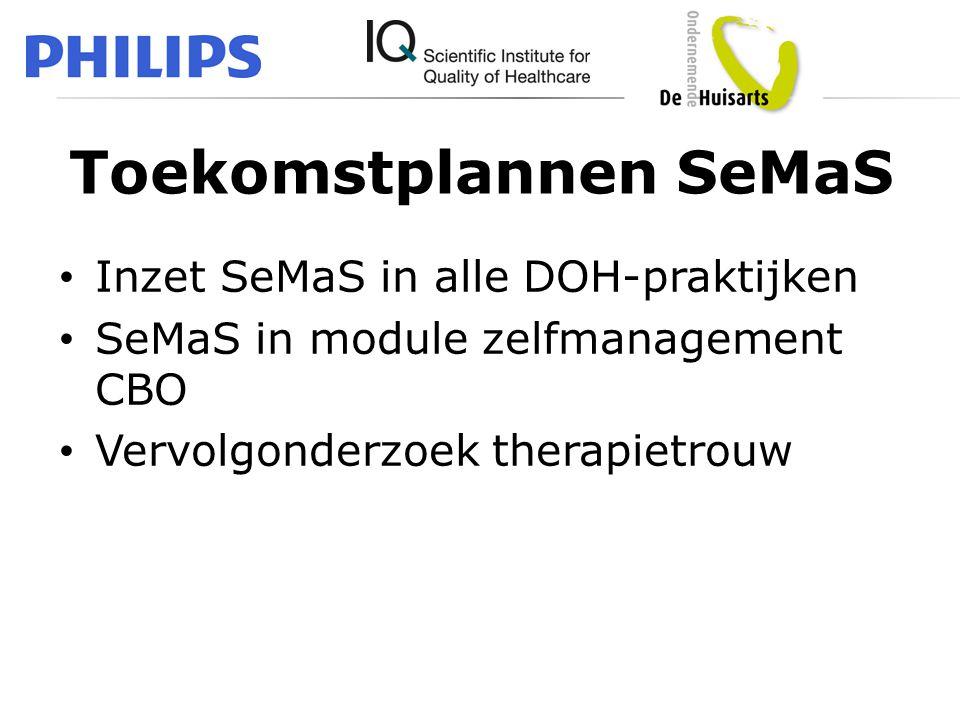 Toekomstplannen SeMaS • Inzet SeMaS in alle DOH-praktijken • SeMaS in module zelfmanagement CBO • Vervolgonderzoek therapietrouw