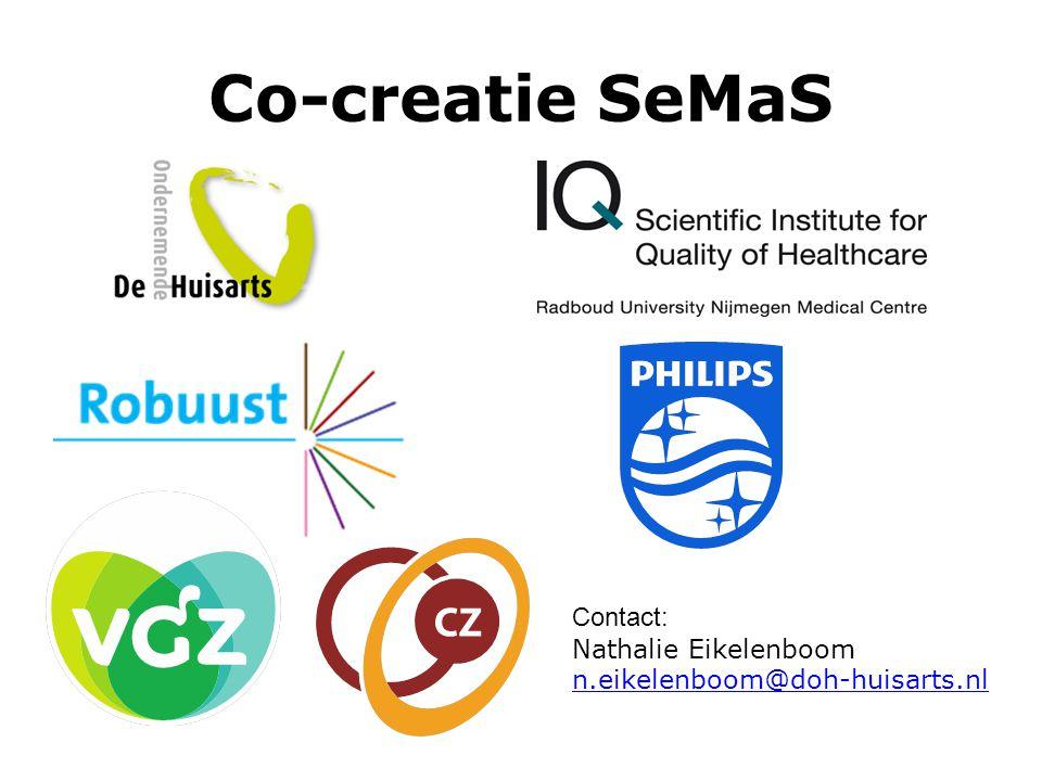 Co-creatie SeMaS Contact: Nathalie Eikelenboom n.eikelenboom@doh-huisarts.nl