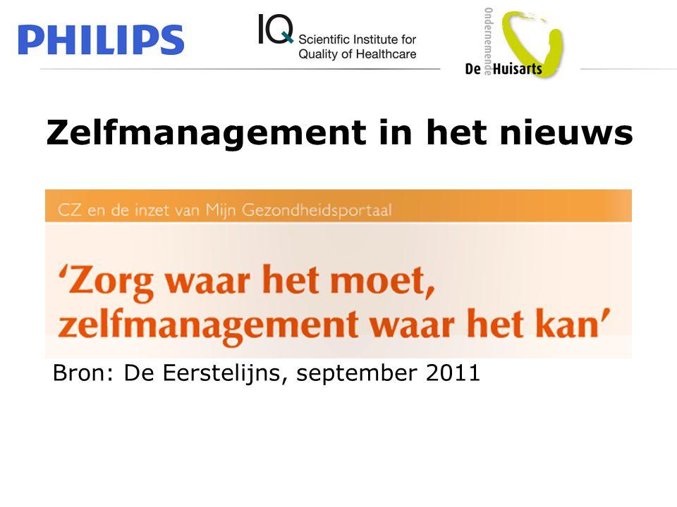 Zelfmanagement in het nieuws Bron: De Eerstelijns, april 2011