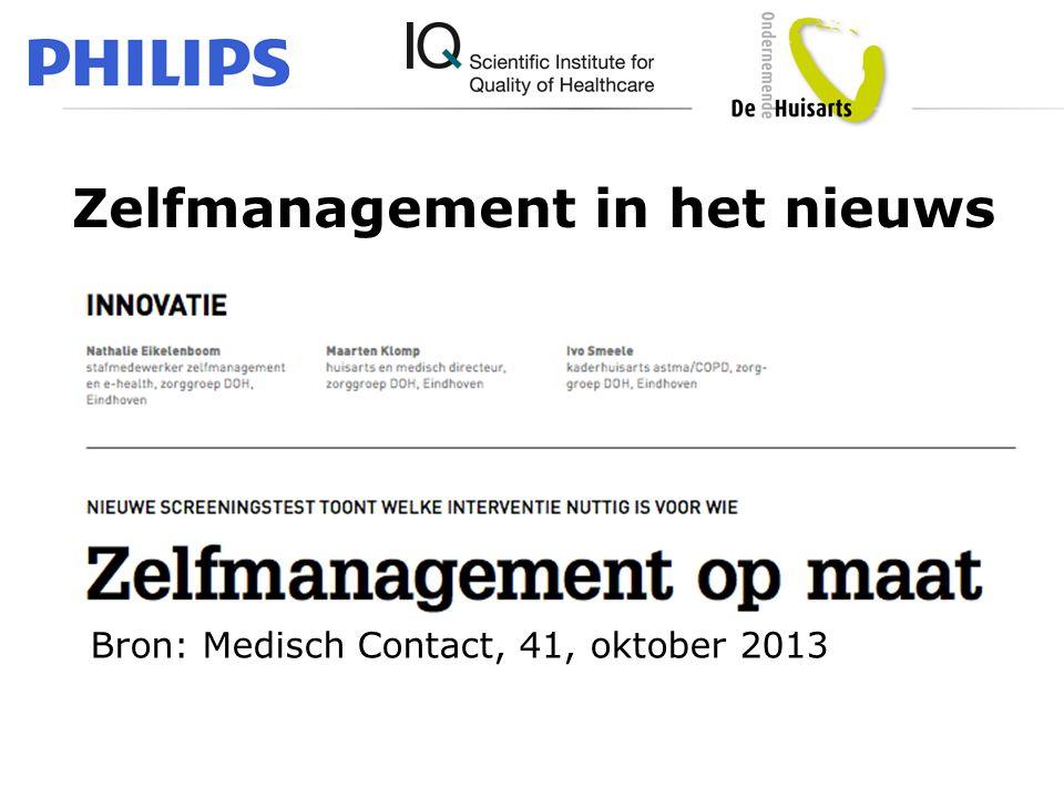 Zelfmanagement in het nieuws Bron: Medisch Contact, 41, oktober 2013