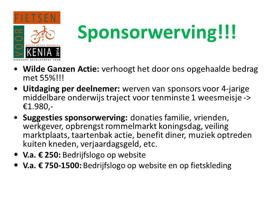 Sponsorwerving!!.•Wilde Ganzen Actie: verhoogt het door ons opgehaalde bedrag met 55%!!.
