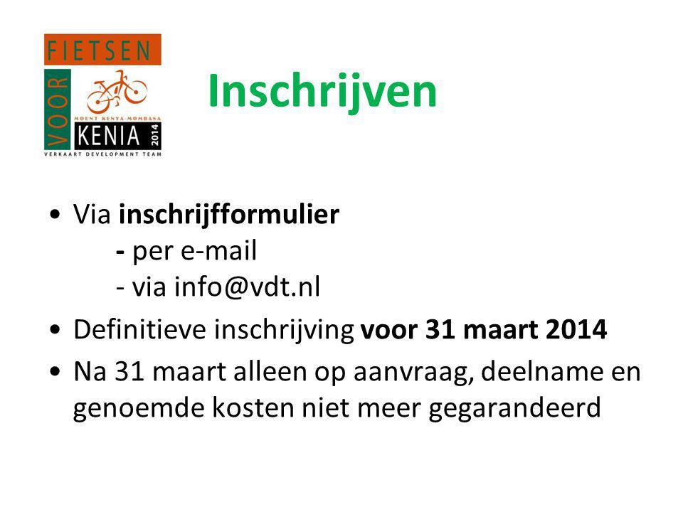 Inschrijven •Via inschrijfformulier - per e-mail - via info@vdt.nl •Definitieve inschrijving voor 31 maart 2014 •Na 31 maart alleen op aanvraag, deelname en genoemde kosten niet meer gegarandeerd