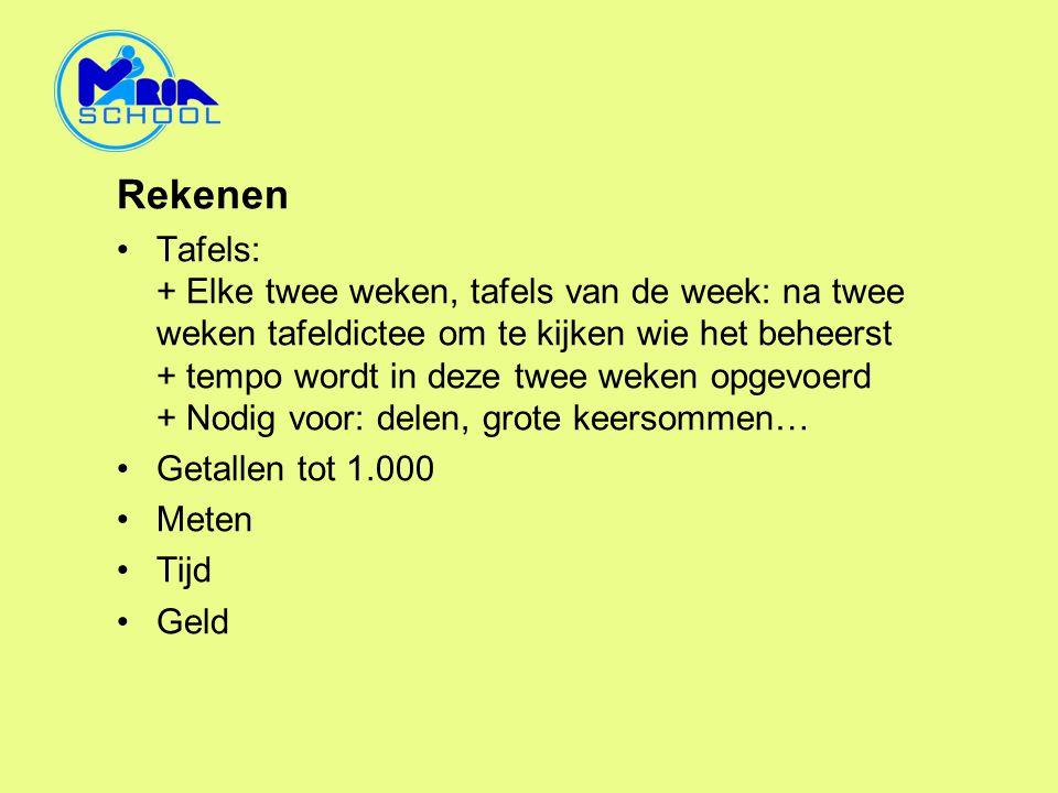 Rekenen •Tafels: + Elke twee weken, tafels van de week: na twee weken tafeldictee om te kijken wie het beheerst + tempo wordt in deze twee weken opgev