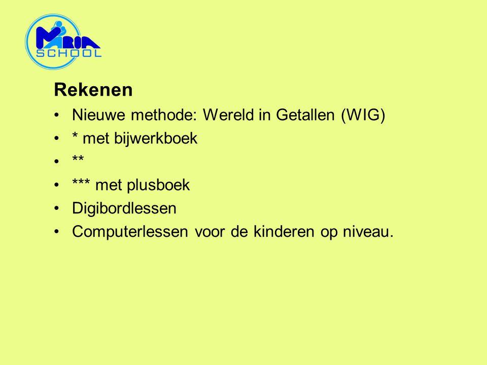 Rekenen •Nieuwe methode: Wereld in Getallen (WIG) •* met bijwerkboek •** •*** met plusboek •Digibordlessen •Computerlessen voor de kinderen op niveau.